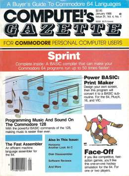 Compute Gazette - Issue 31 - January 1986 - Face-Off - Power BASIC - Music on the 128 Programming - Commodore VIC-20 64 128 Amiga