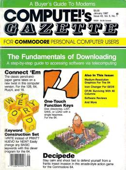 Compute Gazette - Issue 43 - January 1987 - Fundamentals of Downloading - Connect 'em - Commodore VIC-20 64 128 Amiga
