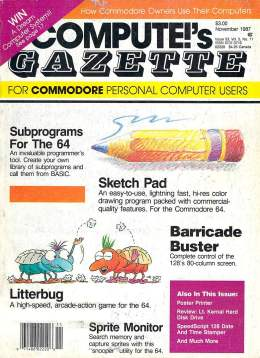 Compute Gazette - Issue 53 - November 1987 - Subprograms for the 64 Sketch Pad - Commodore VIC-20 64 128 Amiga