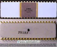 MOS 6501 CPU EXTREMELY RARE: Purchased directly from MOS' Norristown Fab in late 1975, This historically important CPU should not exist. Chuck Peddle, engineer of the fabled 6501 and famous 6502, said that none of the 6501's should have ever left the factory because they were not for sale. It is likely that this the sole survivor.