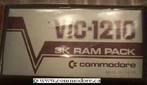 COMMODORE VIC-1210 3K RAM PACK: Well, the name says is all. 3K UPGRADE cartridge! Yes, that is just 3000 characters you could add to your VIC's system memory; My 10 year old writes longer essays than that is school. The very fact that this device made it to mass production tells you just how expensive RAM memory was in the early 1980's.