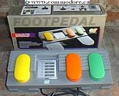 """FOOT PEDALS FOR COMMODORE AND ATARI: This item enables you to transfer any 3 controls from """"joystick"""" to """"foot pedal"""". It is for use with all Atari computers including ST. Commodore 64, 128, VIC20, Amiga Amstrad/Schneider CPC Spectrum and Spectrum PLUS (with suitable interface) BBC and Electron (with suitable interface)."""
