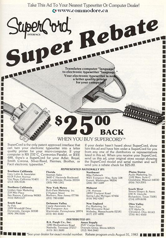 SUPERCOARD: Connect your standard electric typewriter to your Commodore PET or other computer.