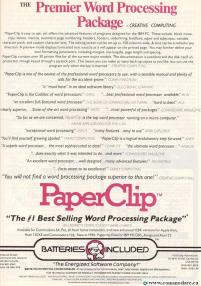 BATTERIES INCLUDED SELLING PAERPCLIP - Best Selling Word Processor in the WORLD! Compute! - Feb 1986