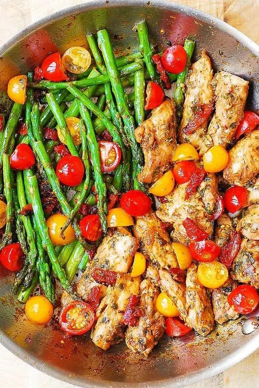 one skillet chicken and veg