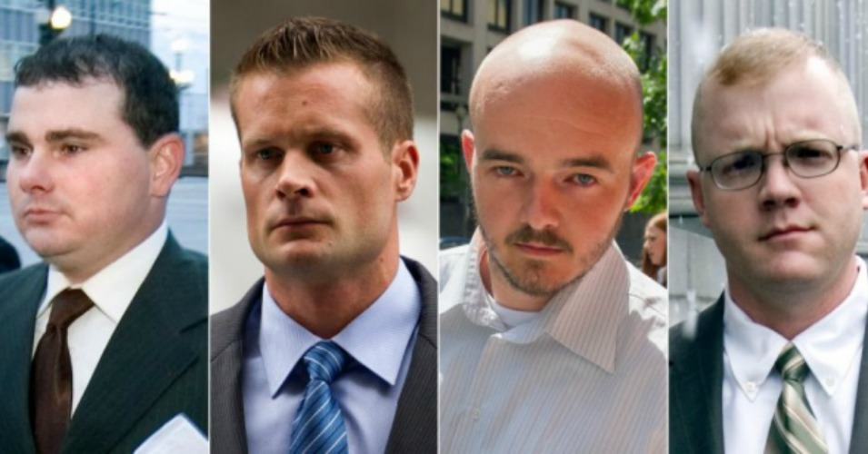 This combination made from file photo shows convicted former Blackwater guards, from left, Dustin Heard, Evan Liberty, Nicholas Slatten and Paul Slough. (Photo: AP)