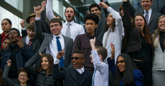 The plaintiffs celebrate after Friday's ruling. (Photo: Our Children's Trust)