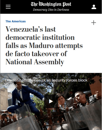 """The Washington Post (1/5/20) described Venezuelan lawmakers voting against someone other than Washington's chosen candidate to head the assembly as """"sedition within the opposition."""""""