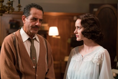 Tony Shalhoub and Rachel Brosnahan portray a distant and tense father-daughter relationship in The Marvelous Mrs. Maisel