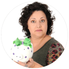 Gail Piggy Bank White Circle Facing Left
