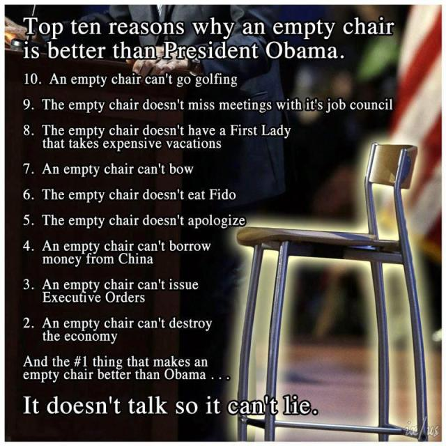 Top 10 Reasons Why An Empty Chair Is Better Than Obama