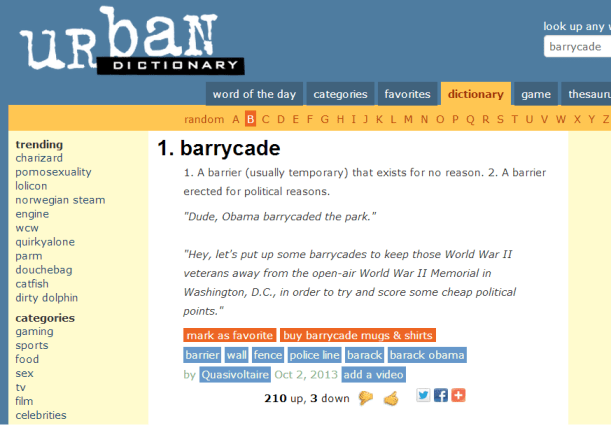 The Urban Dictionary - Barrycade