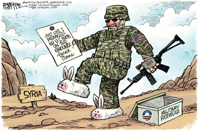 Military Footwear- Bunny slippers. No boots on the ground.