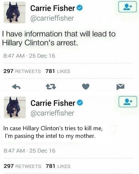 Carrie Fisher's Last Tweets