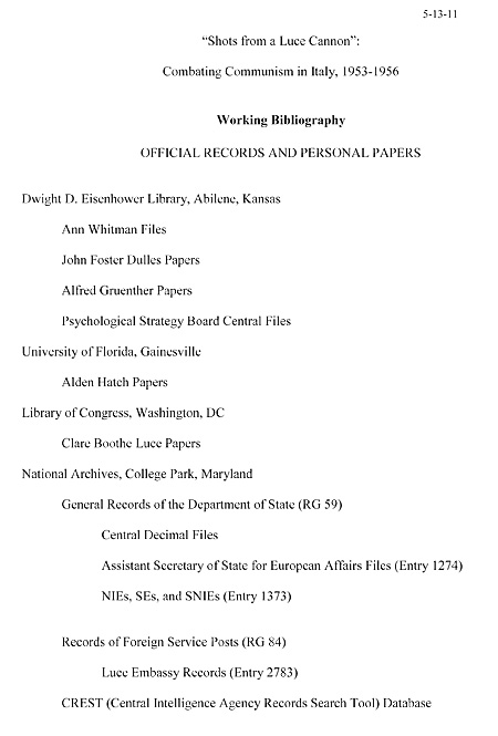 First page of the study's Working Bibliography.
