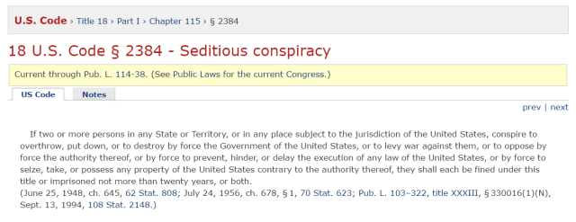 18 U.S. Code § 2384 - Seditious conspiracy