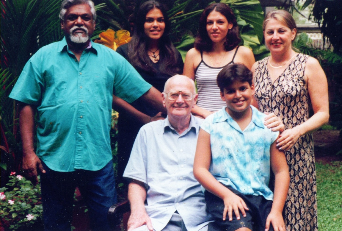 Arthur Clarke with his adopted Lankan family, the Ekanayakes, circa 1999