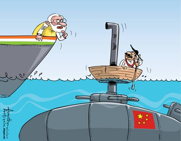 MODI and RAJAPAKSE cartoon