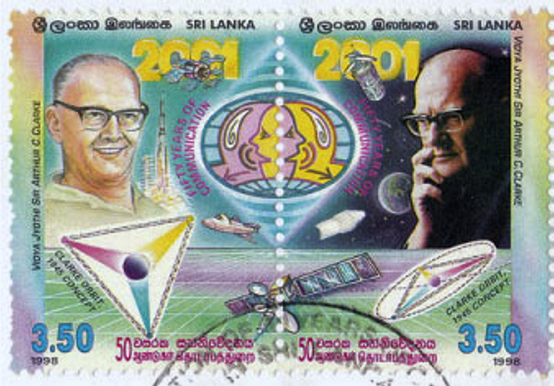 Two postage stamps issued by Sri Lanka in Feb 1998 honouring Arthur C Clarke's contribution to global communications