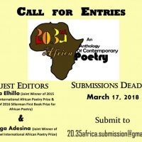 SUBMISSIONS CALL: 20.35 AFRICA – AN ANTHOLOGY OF CONTEMPORARY POETRY. DEADLINE 17 MARCH 2018