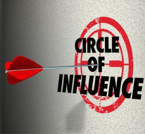 Circle of Influence to illustrate communicating a message to your contacts, friends and family for political campaign