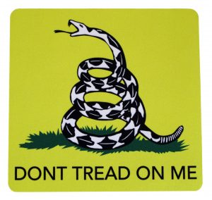 A rattlesnake Dont Tread On Me designed mouse pad