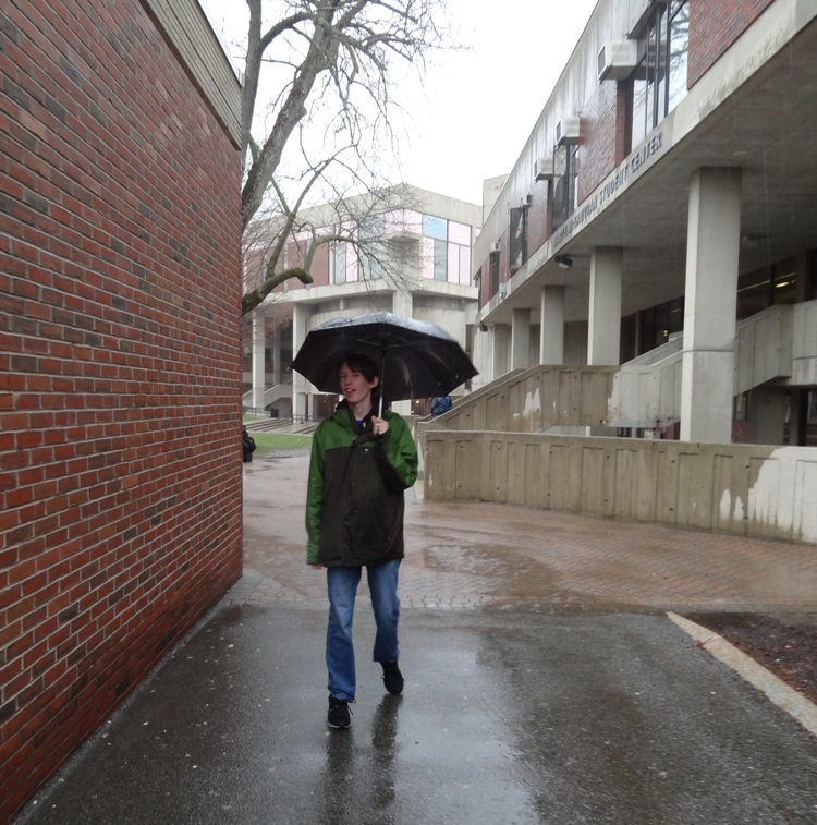 Rory in the rain at UMass Lowell