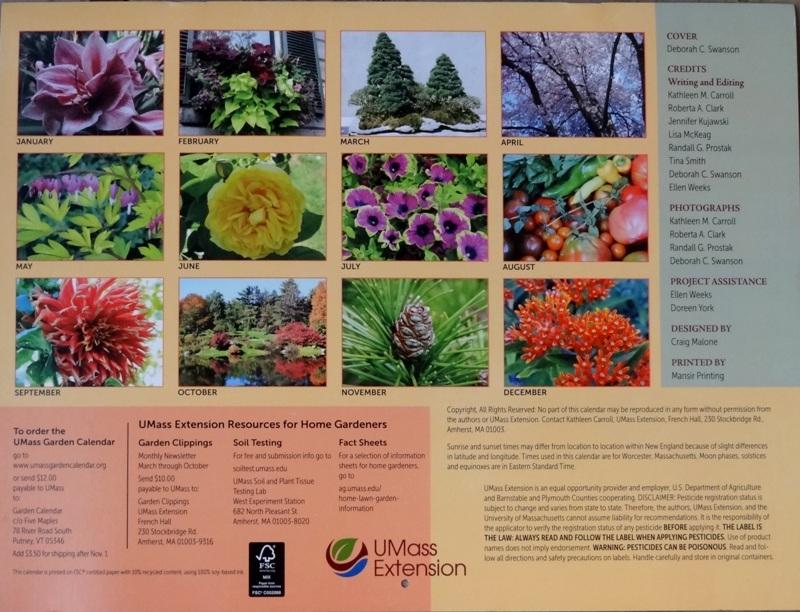 UMass Extension Garden Calendar 2015