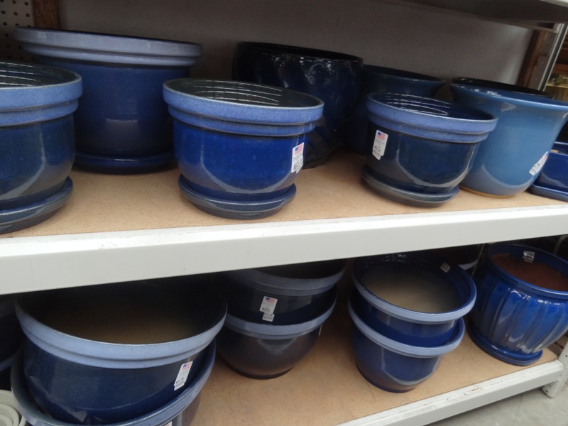 Blue Pots at the Greenfield Farmers Coop