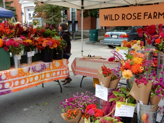 Danielle Smith at her Wild Rose Flower Farm both at the Farmers Market