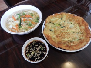 Korean specialties, Noodle Soup and Squash Pancake