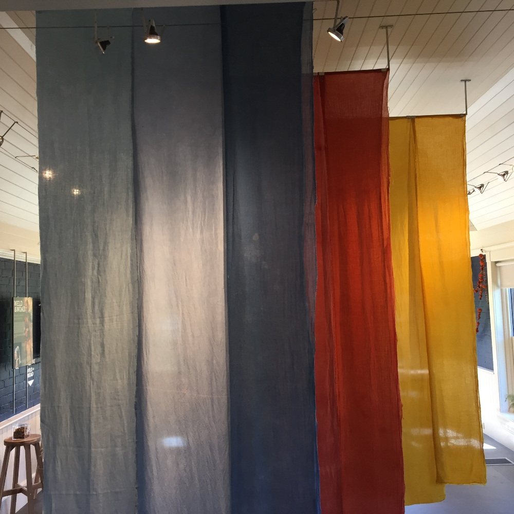Linen, cotton and silk textile panels dyed by Michelle Parrish