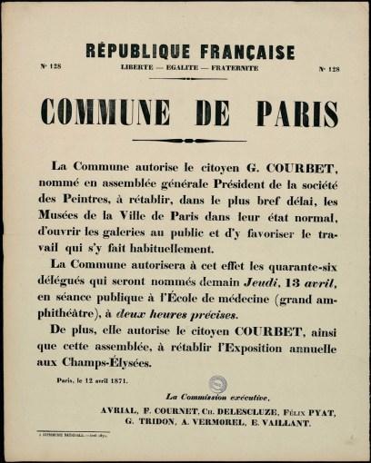 Affiche de la Commune de Paris n° 128 du 12 avril 1871 sur l'ouverture des musées.