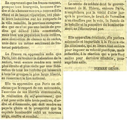 Cri du Peuple du 2 mai 1871 article de Pierre Denis