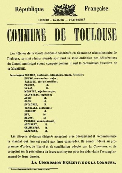 Proclamation de la Commune de Toulouse par la Garde nationale le 25 mars 1871