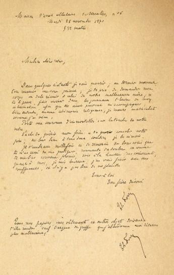 Lettre de Ferré à sa sœur, le matin de son exécution le 28 novembre 1871  - Maison d'arrêt cellulaire de Versailles (Musée Carnavalet - Histoire de Paris)