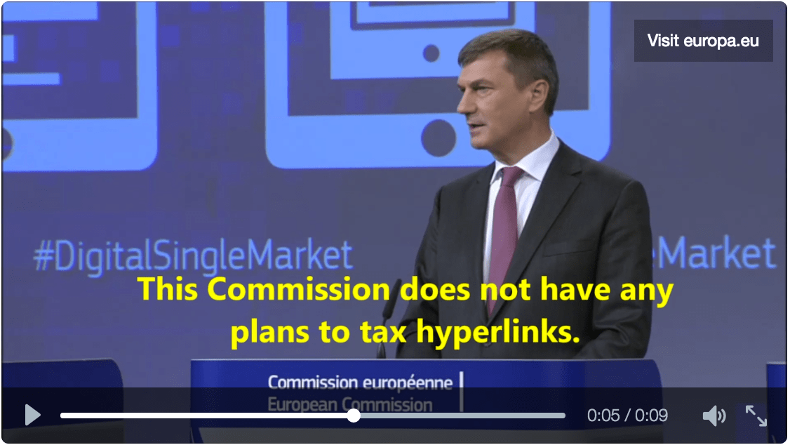 Ansip: 'Commission has no plans to introduce a link tax'