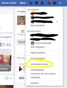 Naar advertentiebeheer op Facebook