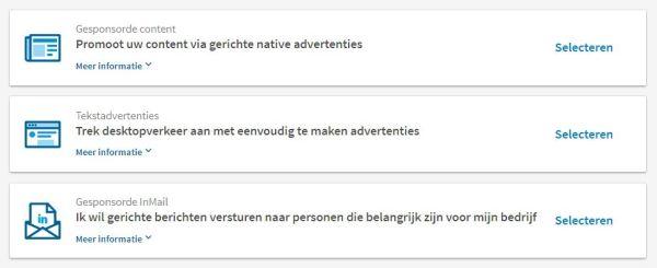 type advertenties op LinkedIn