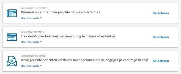 type advertenties op LinkedIn
