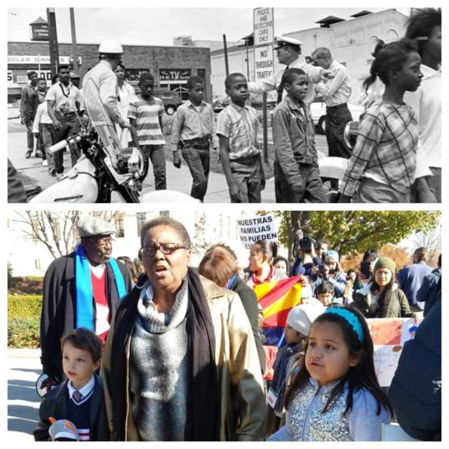 An original photo from the 1963 Children's Crusade above a photo from the 2013 Youth in Action march for immigration reform. Image via Reform Immigration for America.