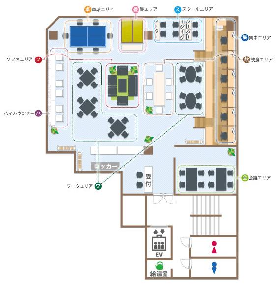 コワーキングスペース「7F」レイアウト
