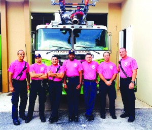 Miami-Dade Firefighters wear pink for Breast Cancer Awareness Month