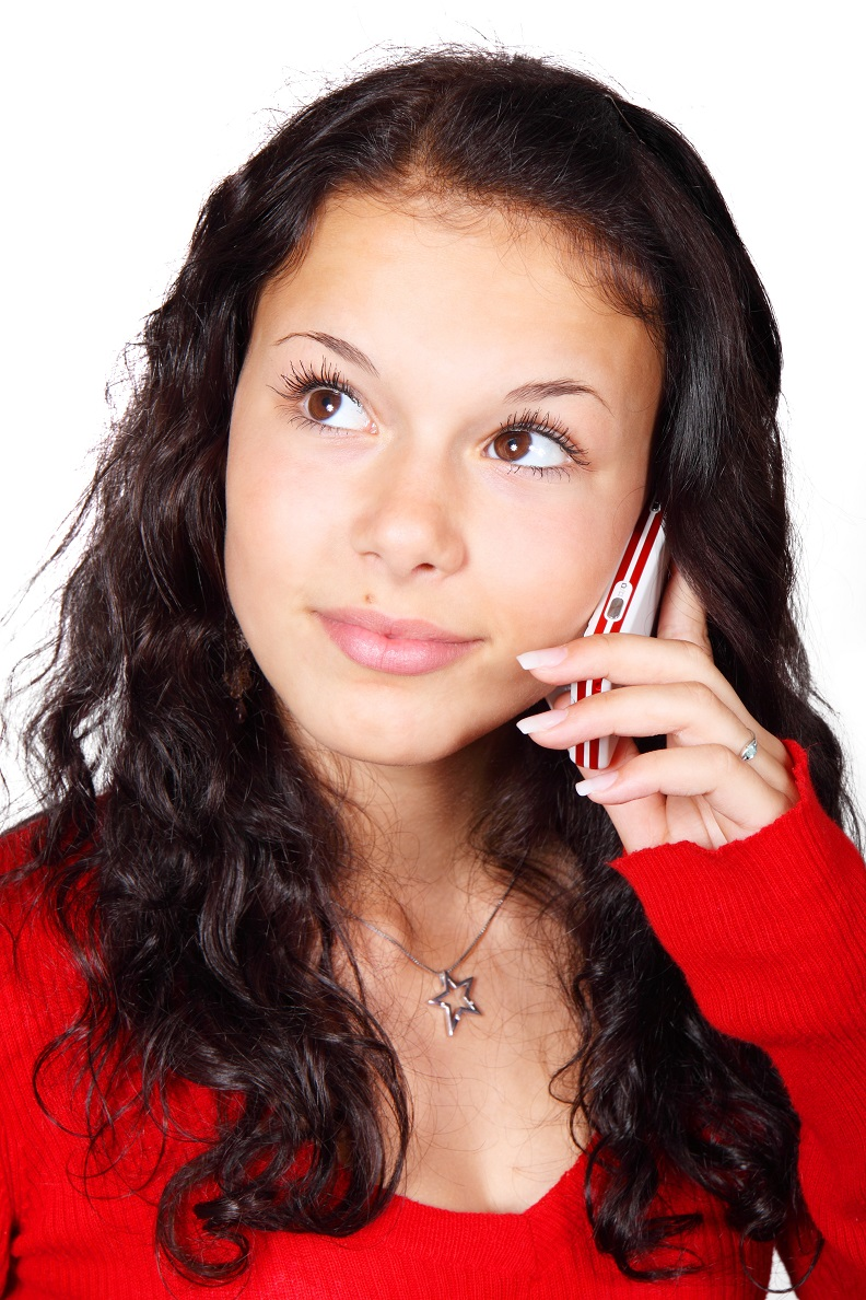Girl making telephone call