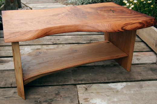 A bench made from reclaimed wood