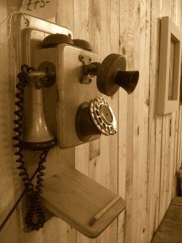 A retro wooden telephone