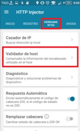 como saber si un host funciona con http injector