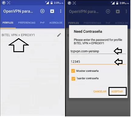conectar y combinar eproxy con openvpn android