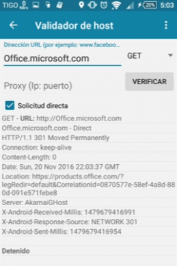 http injector como saber si un host funciona