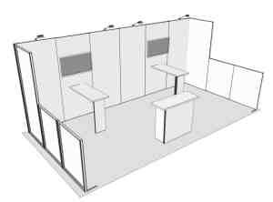 Panoramic 10' x 20' display rental with front with counter and display racks (1)